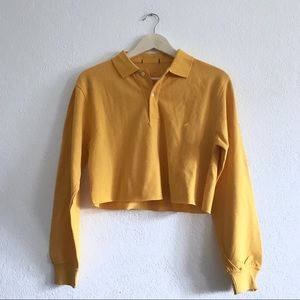 Mustard yellow polo cropped henley sweater